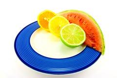 Watermelon with Citrus Halves Stock Photo