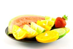 Watermelon with Citrus segments and Strawberry Stock Photos