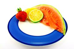 Watermelon with Citrus Slices and Strawberry Royalty Free Stock Photography