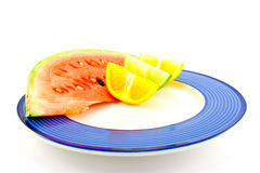 Watermelon with Citrus Wedges Stock Image