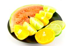 Watermelon with Citrus Wedges and Slices Royalty Free Stock Image