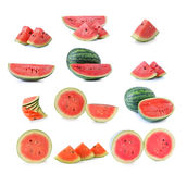 Watermelon with clipping path over white background Stock Photography