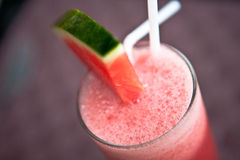 Watermelon cocktail. Tropical drink with shaked watermelon juice Stock Photos