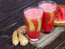 Watermelon cocktail. With ginger and cucumber Stock Images