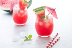 Watermelon cocktail with lemon and mint. Refreshing lemonade close up. Watermelon red cocktail with lemon and mint. Refreshing lemonade close up Stock Photography