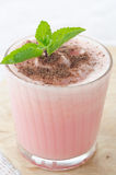 Watermelon cocktail with milk and mint close up Stock Photo