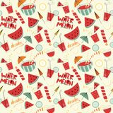 Watermelon cocktails seamless pattern. Stock Photography