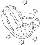Watermelon coloring page. Useful as coloring book for kids Royalty Free Stock Photography