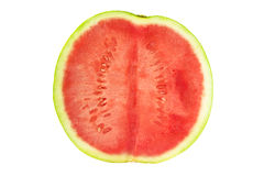 Watermelon cross section. Cross section of a watermelon isolated on white Stock Photo