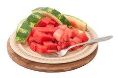 Watermelon cubes and rind of watermelon on a plate.  royalty free stock photos