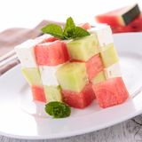 Watermelon,cucumber and mozzarella salad Royalty Free Stock Photo
