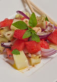 Watermelon, cucumber and red onion salad Royalty Free Stock Photography