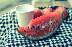 Watermelon and cup Stock Image