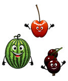 Watermelon, currant and cherry cartoon fruits Stock Photo