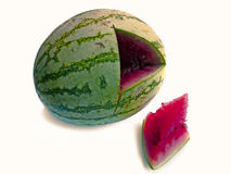 Watermelon. Cut piece in triangle shape Stock Photos