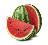 Watermelon cut slice isolated on white background stock photo