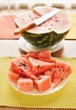 Watermelon cut to pieces Stock Photos