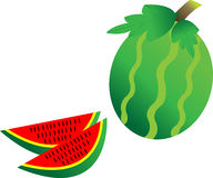 Watermelon and cut watermelon Stock Image