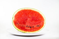 Watermelon on dish isolate on white background Stock Images