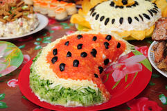 Watermelon dish on set-out Stock Image