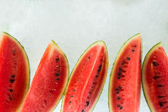 Watermelon display on ice. From a mobile shop Stock Photo
