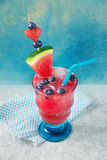Watermelon drink with blueberry. Watermelon summer drink with blueberry in a glass Royalty Free Stock Photo