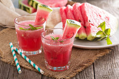 Watermelon drink in glasses Stock Images