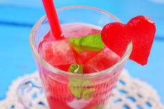 Watermelon drink with mint and ice Royalty Free Stock Photography