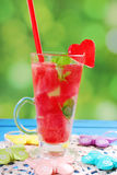 Watermelon drink with mint and ice Stock Images