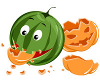 Watermelon eating pumpkin Royalty Free Stock Image