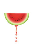 Watermelon with falling juice drops. stock illustration