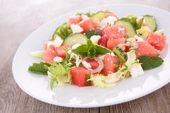Watermelon,feta cheese and cucumber Royalty Free Stock Photos