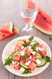 Watermelon, feta cheese and cucumber Royalty Free Stock Image