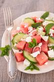 watermelon, feta cheese and cucumber Royalty Free Stock Images