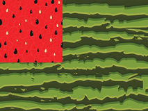 Watermelon flag as symbol of summer with red and green seamless parts, the red pulp dark green stripes of the rind is made in the. Form of the flag of the USA Royalty Free Stock Photos