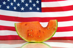 Watermelon with flag background Royalty Free Stock Photo