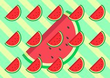Watermelon flat design with background retro color green and yellow design vector Illustration stock illustration