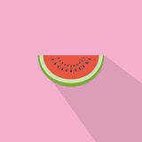 Watermelon Flat Design Vector Icon. Watermelon Flat Design Vector Illustration Icon Royalty Free Stock Photo