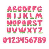 Watermelon Font on white background - vector signs royalty free illustration