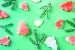 Watermelon in the form of Christmas trees with spruce branches on a green background. Flat lay. Top view. Stock Image