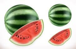 Watermelon. Fresh fruit 3d vector icon Stock Illustration