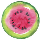 Watermelon fruit. Circle watercolor painted button background. Stock Image