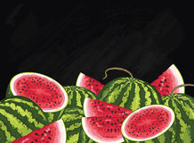 Watermelon fruit composition on chalkboard, vector Royalty Free Stock Image
