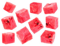 Watermelon fruit cube slice Royalty Free Stock Images