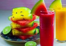 Watermelon fruit juice and fresh watermelon fruit Stock Photography