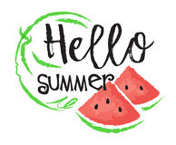 Watermelon fruit label and sticker. Hello Summer. Vector illustration in watercolor style, for graphic and web design Stock Photos