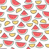 Watermelon fruit pattern on white. Bright beautiful citrus seamless background. Vector illustration in flat. Summer cartoon background vector illustration