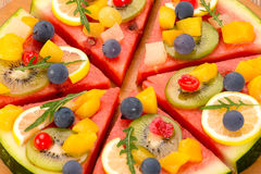 Watermelon fruit pizza Stock Image