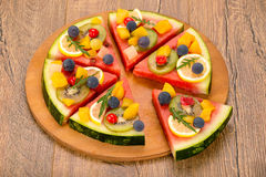 Watermelon fruit pizza Royalty Free Stock Images