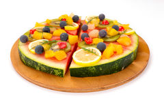 Watermelon fruit pizza Stock Photos